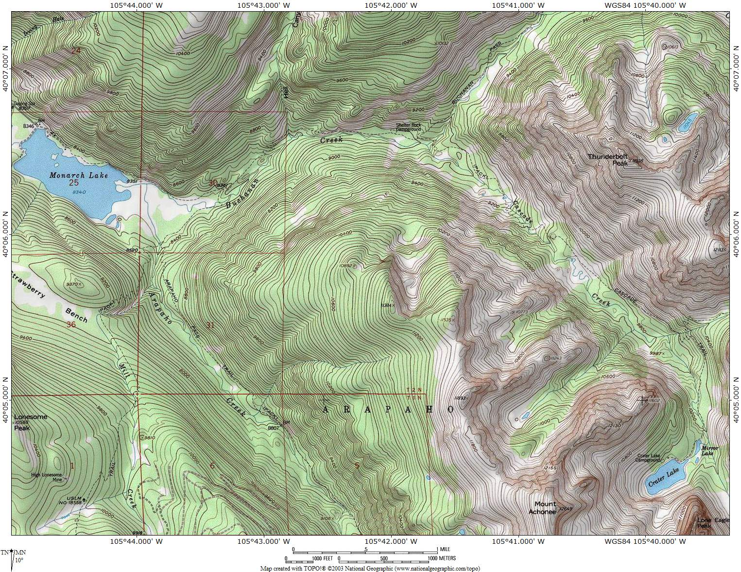 ProTrails Crater Lake and Mirror Lake Trail Map Monarch Lake