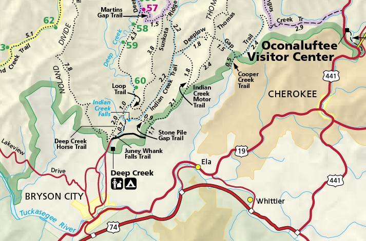 ProTrails | Juney Whank Falls, Trail Map, Deep Creek Trailhead ... on