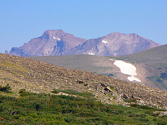 Longs Peak (left) and Mt Meeker (right) from the Beaver Creek Trail