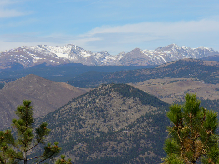 Looking west from the Ute Trail at the snow capped Indian Peaks Wilderness
