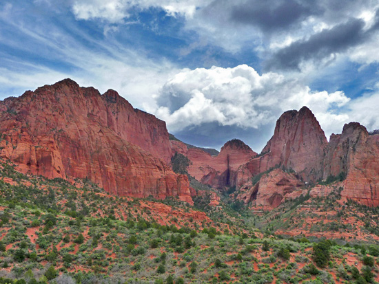 Looking east at the Kolob Canyons area from the Timber Creek Overlook
