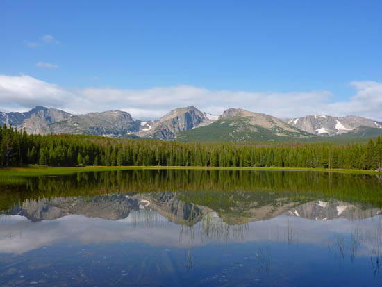 Looking west from Bierstadt Lake's east shore across the Continental Divide