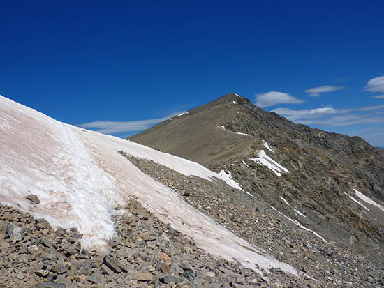 A perennial snowfield along the saddle between Grays Peak and Torreys Peak
