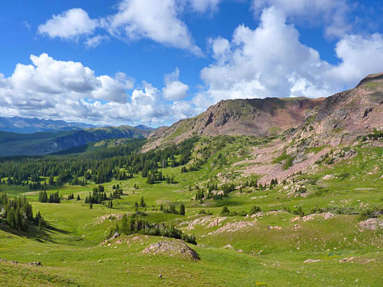 Looking southeast over the Meadow Creek valley from Eccles Pass