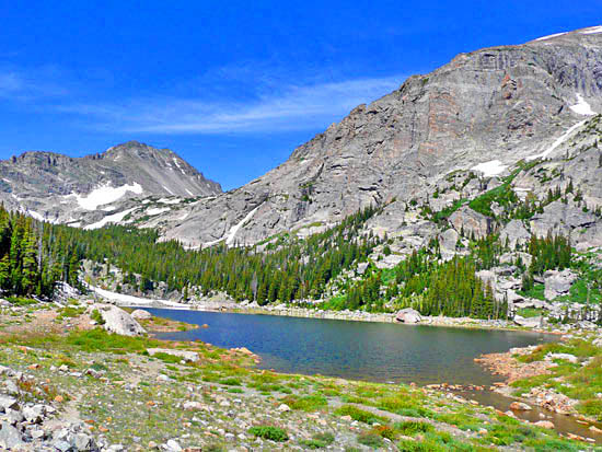 Pear Lake (10,582') in the Wild Basin Area of Rocky Mountain National Park