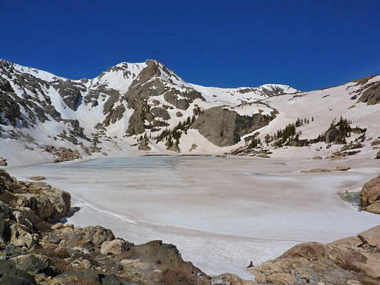 Bluebird Lake (10,978') with Ouzel Peak (12,716') in the far center