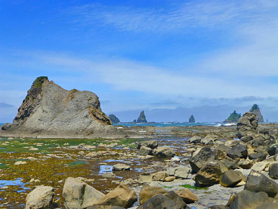 The rugged coast just beyond Rialto Beach